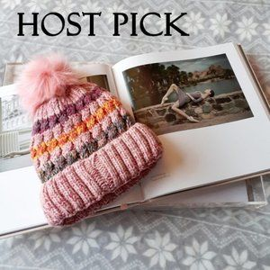 Adrienne Landau pink stripe faux fur beanie hat